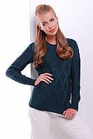 Стильный женский фактурный вязаный свитер однотонный темно-зеленый