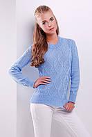 Стильный женский фактурный вязаный свитер однотонный голубой