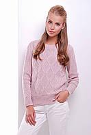 Стильный женский фактурный вязаный свитер однотонный пудра
