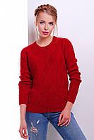 Женский фактурный вязаный свитер красный вязка ромбы