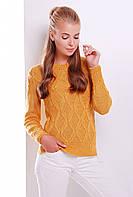 Женский фактурный вязаный свитер горчица вязка ромбы