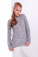 Вязаный женский свитер с манжетами и узором косичка темно-серый