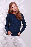 Нарядный женский вязаный свитер с узорами косичками цвет джинс