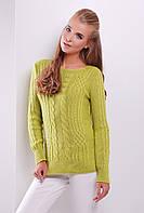 Нарядный женский вязаный свитер с узорами косичками цвет фисташка