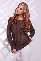 Нарядный женский вязаный свитер с узорами косичками цвет коричневый