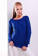 Женский нарядный вязаный свитер с узорами косичками цвет электрик