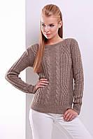 Нарядный женский вязаный свитер с узорами косичками цвет кофе