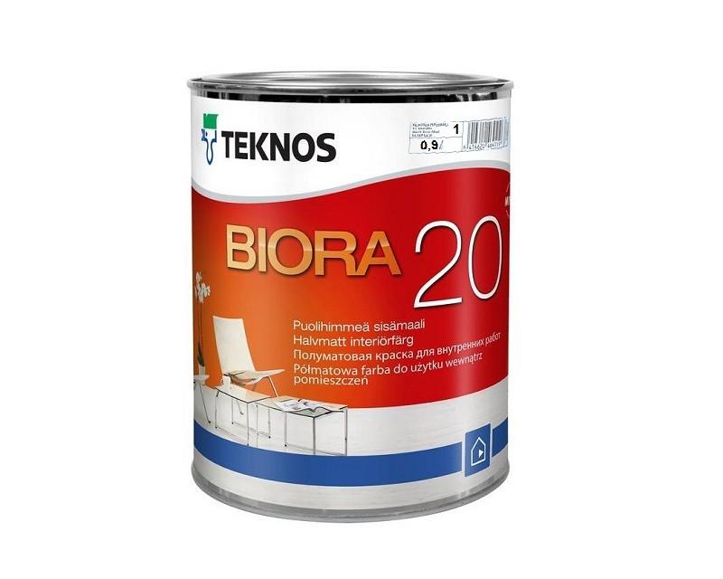 Краска акриловая TEKNOS BIORA 20 интерьерная белая (база 1) 0,9л