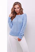Ажурный вязаный женский свитер на осень голубой