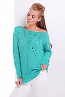 Ажурный зеленый вязаный женский свитер на осень