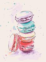 Картина раскраска по номерам без коробки Идейка Аппетитные макаруны (KHO5516) 30 х 40 см