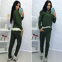 """""""Оливковый"""" спортивный костюм с имитацией футболки"""