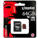 MicroSD XC 64Gb Kingston Class10 (c переходником на SD, UHS-I, 4K  SDCA3/64GB)