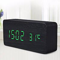 Настольные электронные LED часы будильник календарь градусник под дерево с голосовым сопровождением