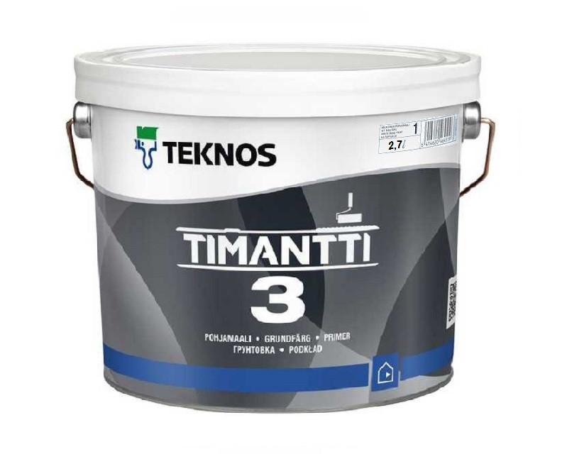 Краска для влажных помещений TEKNOS TIMANTTI 3 антисептическая белая (база 1) 2,7л