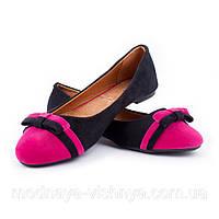 Модные замшевые двухцветные балетки с бантиком (розовый)