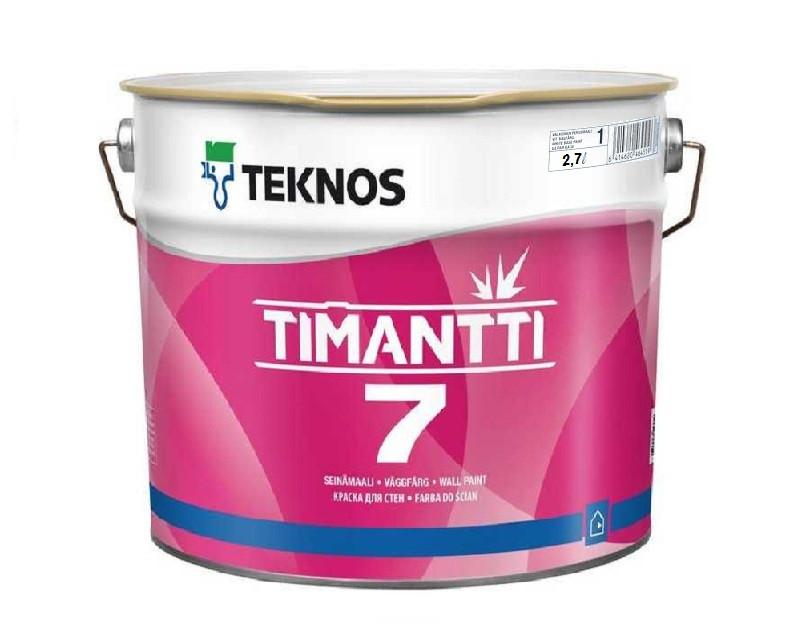 Краска для влажных помещений TEKNOS TIMANTTI 7 антисептическая белая (база 1) 2,7л