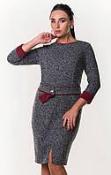 Модное шерстяное платье серого цвета