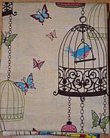 Хлопковая ткань Птица в клетке