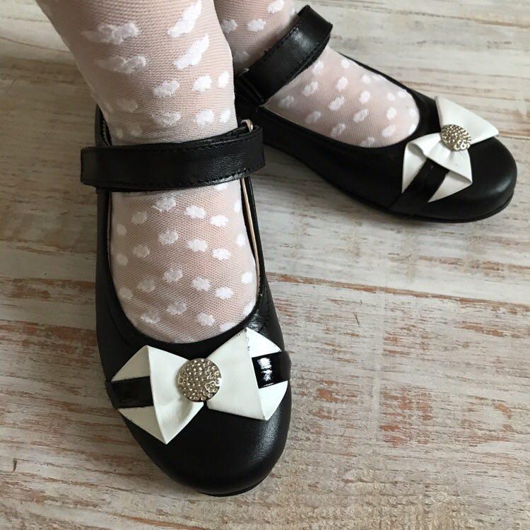 Дитячі шкіряні туфлі на застібці бантик 29 розміри