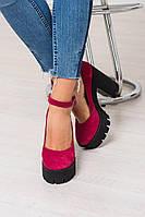 Туфли женские цвет фуксия хит осени на толстом каблуке подошва тракторная, женские туфли тракторы