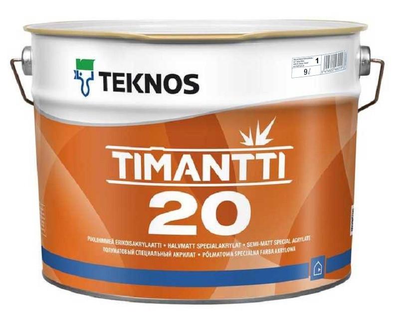 Краска для влажных помещений TEKNOS TIMANTTI 20 антисептическая белая (база 1) 9л