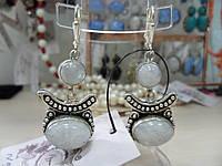 Серьги с лунным камнем. Серьги с натуральным лунным камнем (адуляр) в серебре