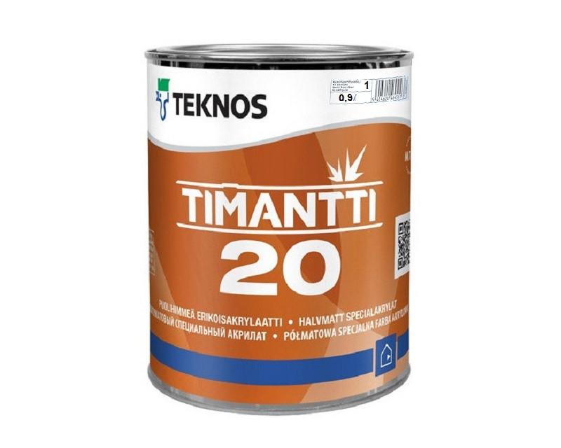 Краска для влажных помещений TEKNOS TIMANTTI 20 антисептическая белая (база 1) 0,9л