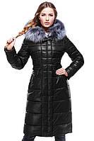 Молодежное пальто декорированое съемным мехом чернобурки