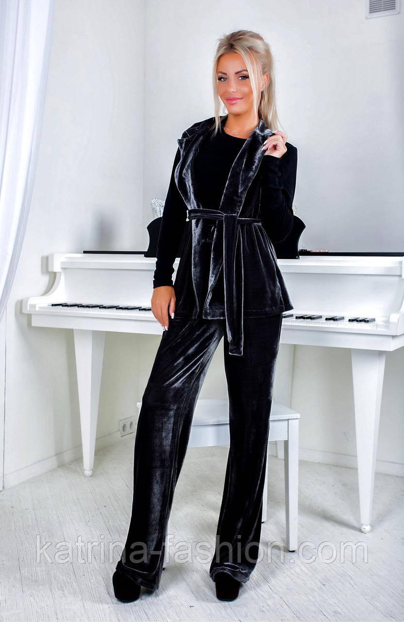 Женский бархатный костюм: пуловер, жакет с поясом и брюки (3 цвета)