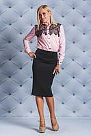 Блуза женская с кружевом персик