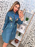 Стильное джинсовое платье-рубашка с вышивкой тренд 2017