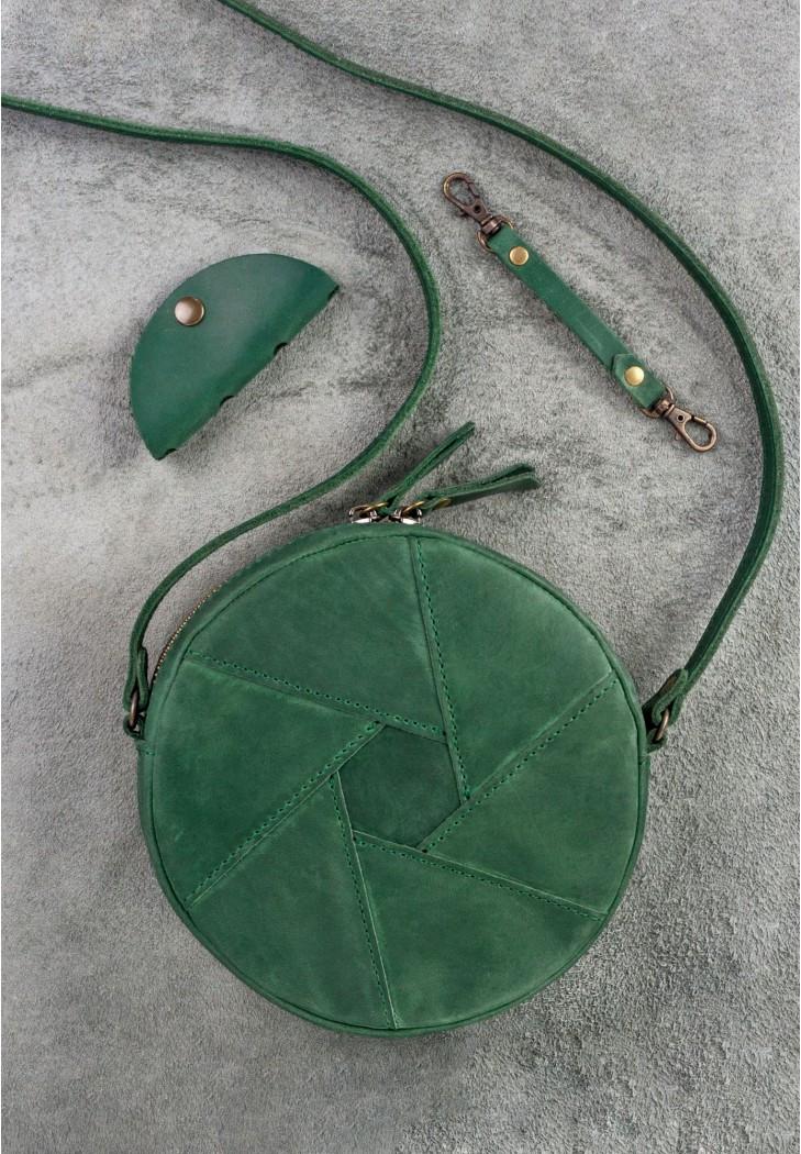 "Кругла жіноча сумка ""Бон-бон"" смарагдова"