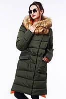 Модное пальто  с массивным воротником-капюшоном