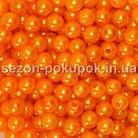 Жемчуг пластик диаметр 6мм (упаковка 100шт) Цвет - ярко оранжевый