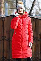 Модное стеганое длинное пальто