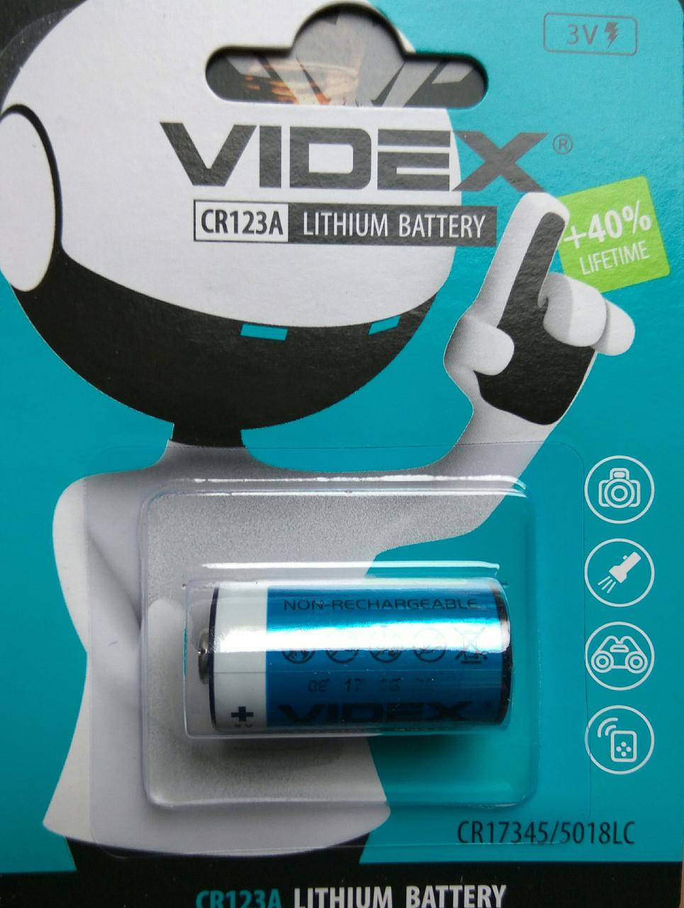 Батарейка Videx литиевая CR123A (1шт уп)
