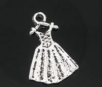 """Подвеска """"Платье"""", 19mm x 13mm, Античное Серебро"""
