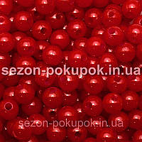 (20 грамм) Жемчуг пластик диаметр 6мм (прим. 190-220шт) Цвет - темно красный