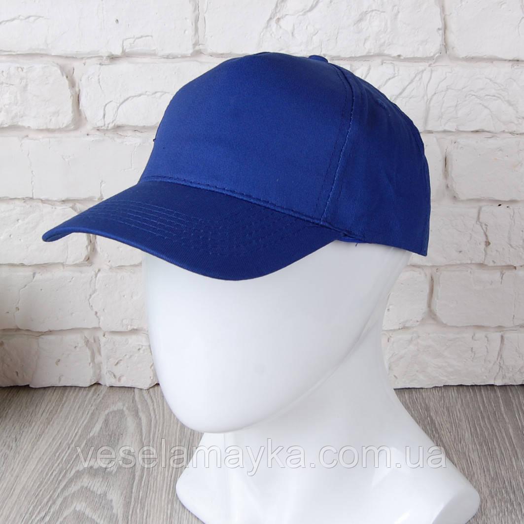 Синя однотонна кепка на липучці (Комфорт)