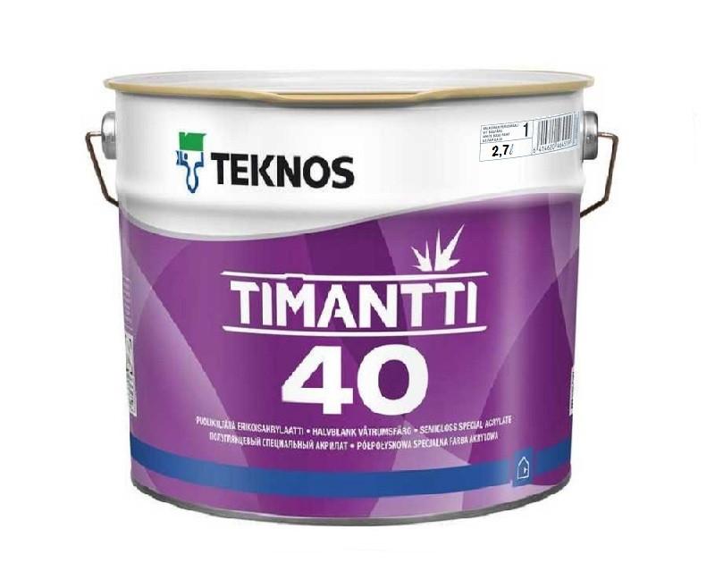 Краска для влажных помещений TEKNOS TIMANTTI 40 антисептическая белая (база 1) 2,7л