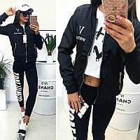 ХИТ!!! Женская куртка ветровка бомбер надпись VOGUE 92 с карманами чёрная S M L XL