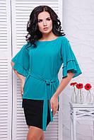 Блуза большого размера Louise 1530, (5цв), шифоновая блуза, блуза с воланом