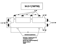 Розподіляє колектор для системи опалення М-2+1-(160*80)