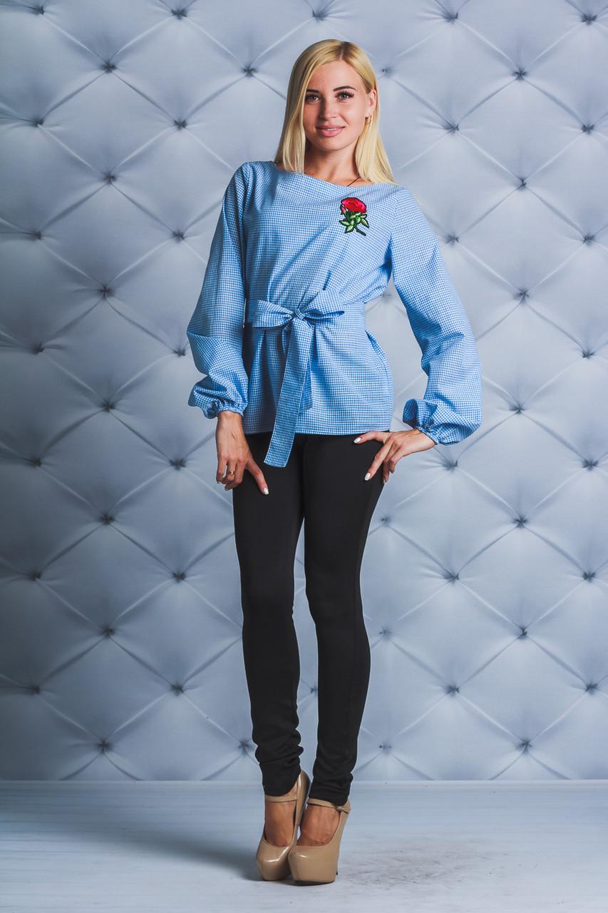 Блуза стильная длинный рукав с цветком