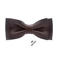 Bow Tie House Кожаная бабочка глянцевая с темно-коричневой кожи Алькар