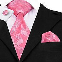 Подарочный мужской галстук розовый в большой цветок JASON&VOGUE