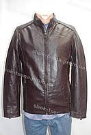 Демисезонная мужская куртка из кож. заменителя коричневая