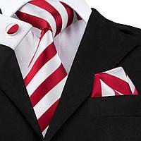 Подарочный мужской набор красный в широкую белую полоску JASON&VOGUE