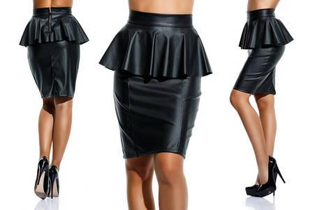 """Элегантная женская юбка средней длины 047 """"Кожа Баска"""" в расцветках, фото 2"""